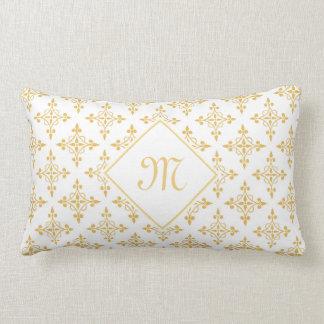 Blanco de lujo y oro Quatre del monograma floral Cojín