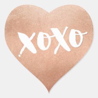Blanco de moda del AMOR XOXO del oro color de rosa Pegatina En Forma De Corazón