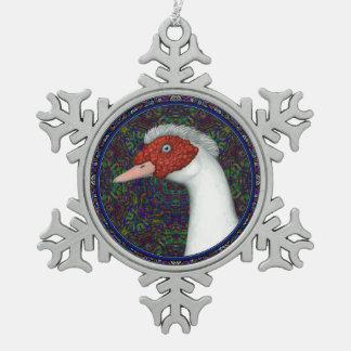 Blanco de Muscovy Duck Head Adorno De Peltre En Forma De Copo De Nieve