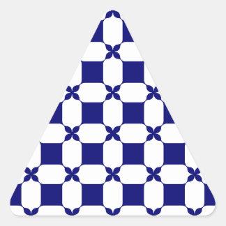 Blanco de Ogee y Navy.png Pegatina Triangular
