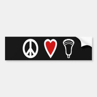 Blanco de PeaceLoveLacrosse de los diseños de LaCr Etiqueta De Parachoque