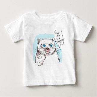 blanco de pensamiento del gatito remera