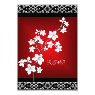 """Blanco de plata floral negro rojo asiático del invitación 3.5"""" x 5"""""""