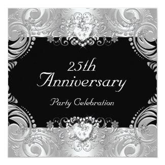 """Blanco de plata negro 2 del 25to aniversario invitación 5.25"""" x 5.25"""""""