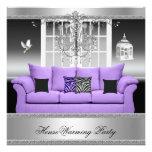 Blanco de plata púrpura de la lámpara del fiesta d invitaciones personalizada