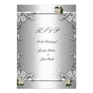 Blanco de plata subió boda elegante de RSVP Comunicados Personales