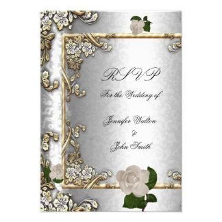 Blanco de plata subió oro elegante 2 del boda de R Comunicado