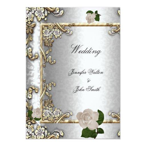 Blanco de plata subió oro elegante 2 del boda comunicado personalizado