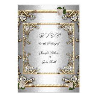 Blanco de plata subió oro elegante del boda de RSV Invitacion Personalizada