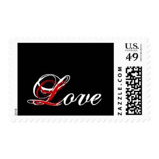 Blanco de Postage_ del amor en negro y rojo Estampilla