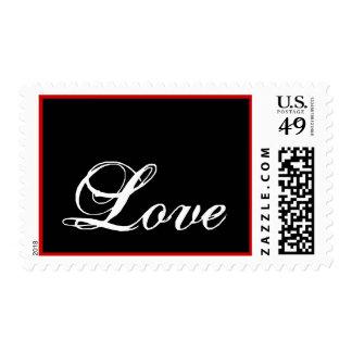 Blanco de Postage_ del amor en negro y rojo Sello Postal