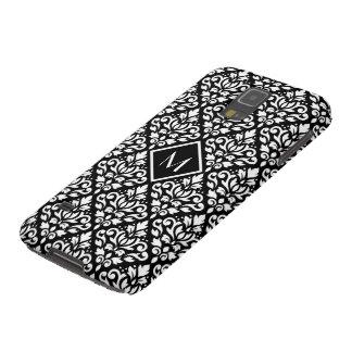 Blanco de Ptn del damasco de la voluta en el negro Funda Para Galaxy S5