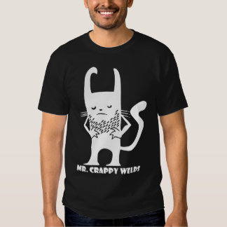 Blanco de Sr. Crappy Welds en negro Poleras