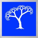 Blanco del árbol del fractal poster