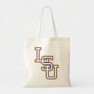 Blanco del bloque y logotipo del oro LSU Bolsa Tela Barata