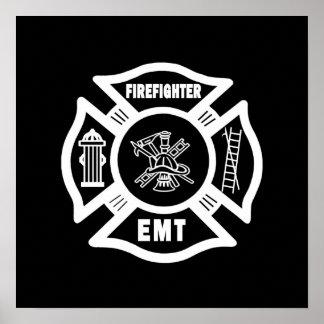 Blanco del bombero EMT Póster