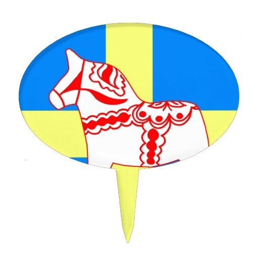 Blanco del caballo de Suecia Dala Figuras Para Tartas