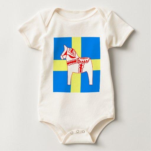Blanco del caballo de Suecia Dala Mameluco De Bebé