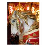 Blanco del caballo del carrusel tarjeta postal