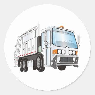 blanco del camión de basura 3d pegatina redonda
