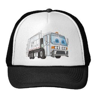 Blanco del camión de basura del dibujo animado gorra