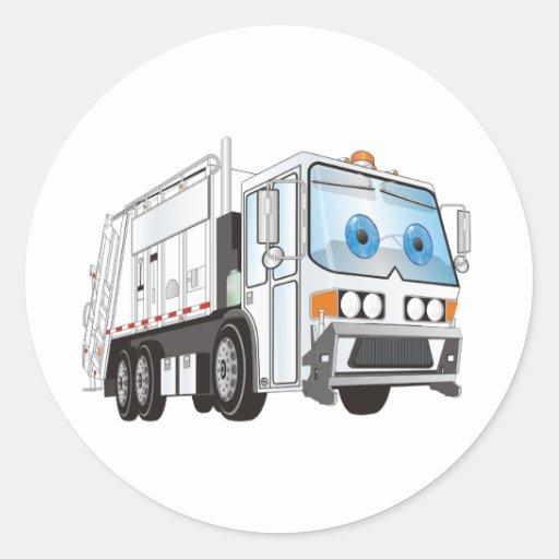 Blanco del camión de basura del dibujo animado pegatina redonda