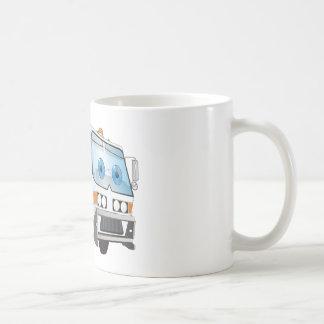 Blanco del camión de basura del dibujo animado taza