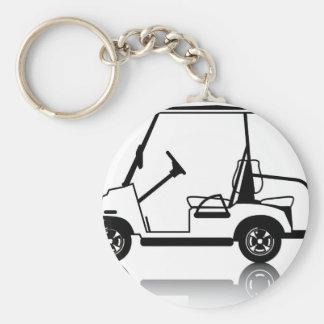 Blanco del carro de golf llavero redondo tipo pin