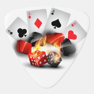 Blanco del casino del póker de la llama uñeta de guitarra