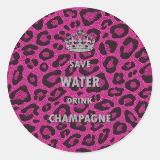 Blanco del champán de la bebida del agua de la pegatina redonda