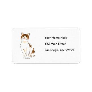 Blanco del color de agua y gato anaranjado el etiqueta de dirección