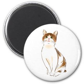 Blanco del color de agua y gato anaranjado el imán redondo 5 cm