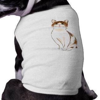 Blanco del color de agua y gato anaranjado el playera sin mangas para perro