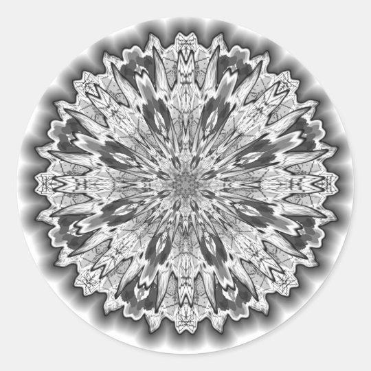 Blanco del copo de nieve pegatina redonda