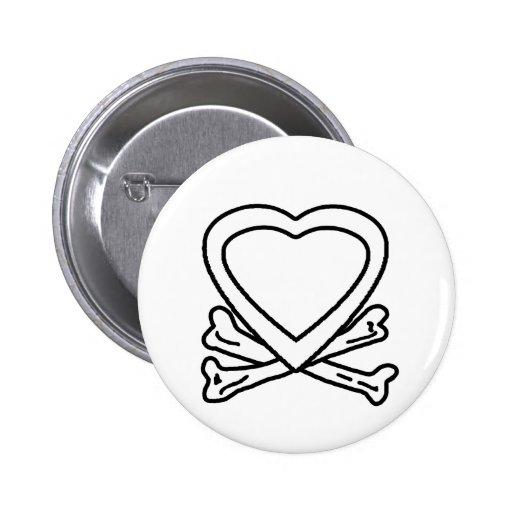 Blanco del corazón y de los huesos los regalos de  pin redondo 5 cm
