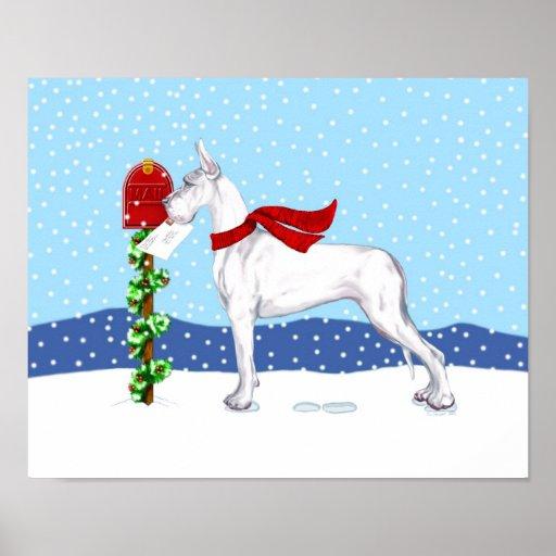 Blanco del correo del navidad de great dane póster