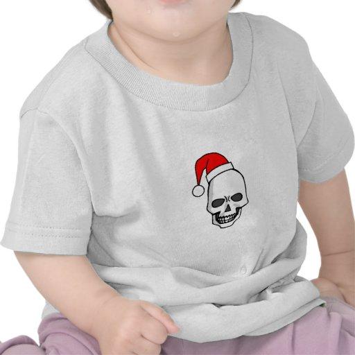 Blanco del cráneo del navidad camisetas