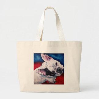 Blanco del dogo francés con el remiendo bolsa tela grande