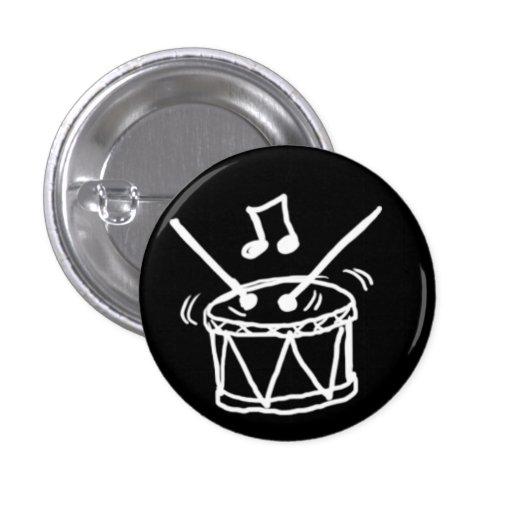 Blanco del Doodle del tambor en negro Pin Redondo 2,5 Cm