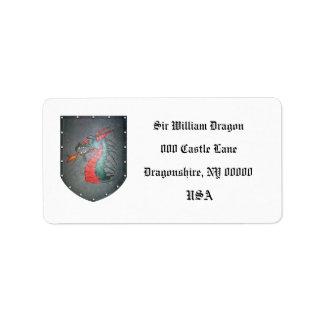 Blanco del dragón del escudo del metal etiquetas de dirección