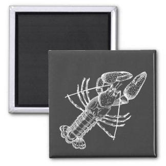 Blanco del ejemplo de los cangrejos en negro imán cuadrado