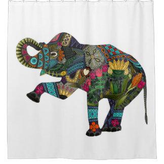 blanco del elefante asiático cortina de baño