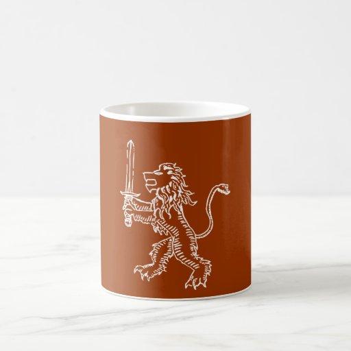 blanco del escudo del león taza
