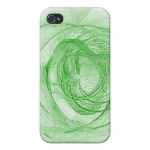 Blanco del fractal y verde hermosos iPhone 4/4S carcasas