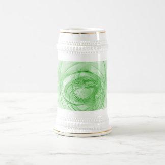 Blanco del fractal y verde hermosos jarra de cerveza