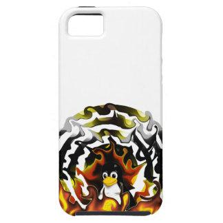 Blanco del fuego de TUX iPhone 5 Funda