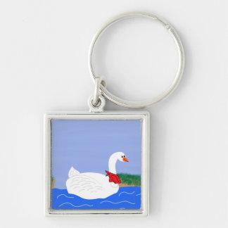 Blanco del ganso en arte del dibujo animado del la llavero personalizado
