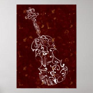 Blanco del garrapatos del violín en los puntos gra póster