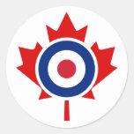 Blanco del hockey de la MOD que se encrespa Canadá Etiquetas Redondas