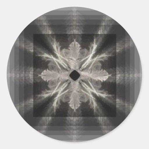 Blanco del infinito en diseño negro del arte del pegatina redonda
